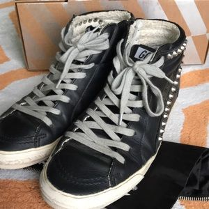 Golden goose black leather studded sneakers